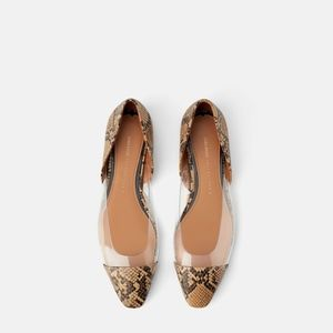 Zara ANIMAL PRINT VINYL BALLET FLATS 8